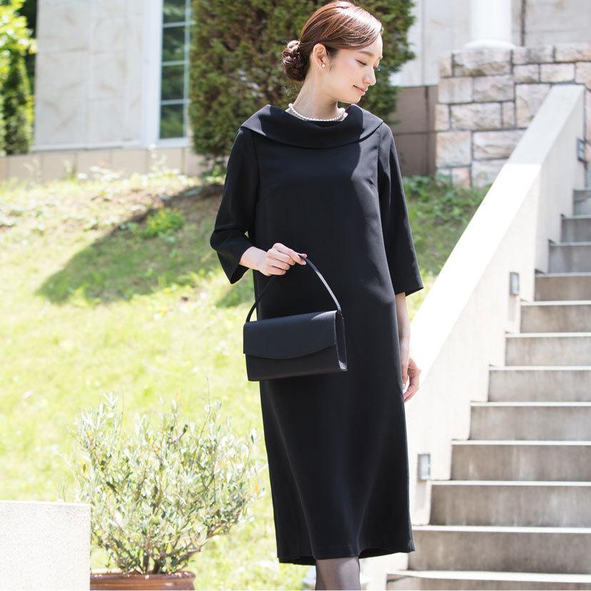 喪服 レディース 洗える ロング丈 ワンピース 礼服 夏 ブラックフォーマル ロールカラー 20代 30代 40代 50代 ゆったり 大きいサイズ 小さいサイズ|sutekitaiken|08