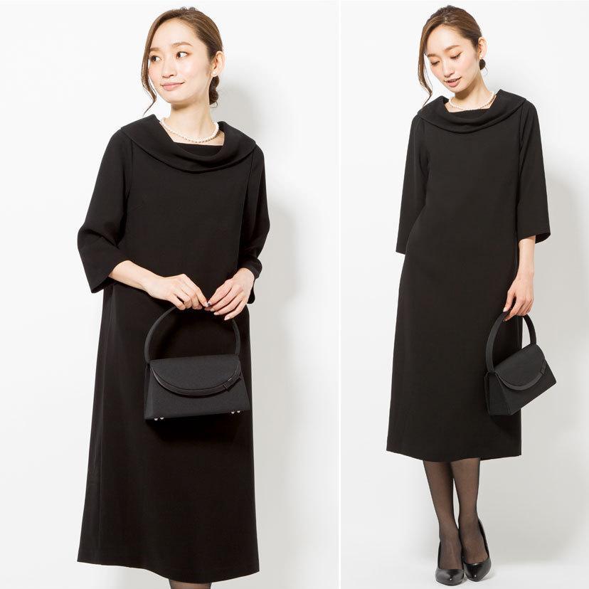 喪服 レディース 洗える ロング丈 ワンピース 礼服 夏 ブラックフォーマル ロールカラー 20代 30代 40代 50代 ゆったり 大きいサイズ 小さいサイズ|sutekitaiken|10