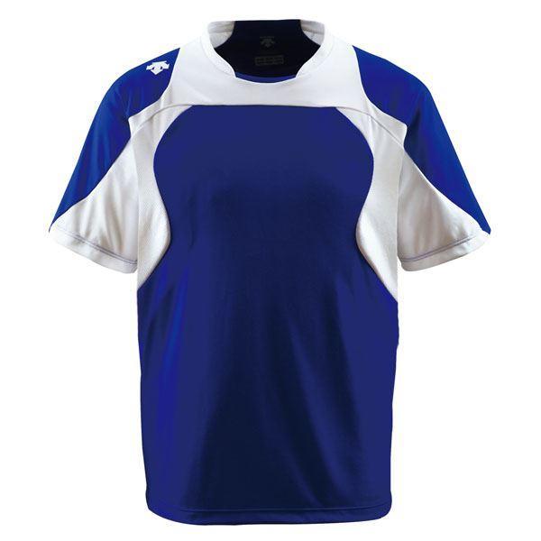 デサント(DESCENTE) ベースボールシャツ (野球) DB115 Dロイヤルブルー×Sホワイト×ホワイト M