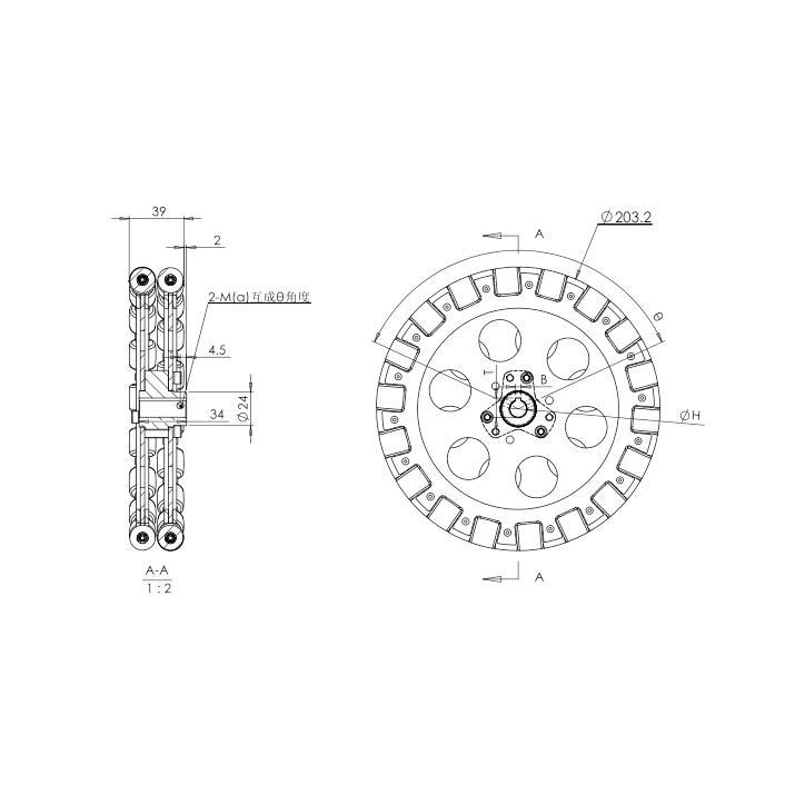 HANGFA オムニホイール QL-20 直径203.2mm|suzakulab|06