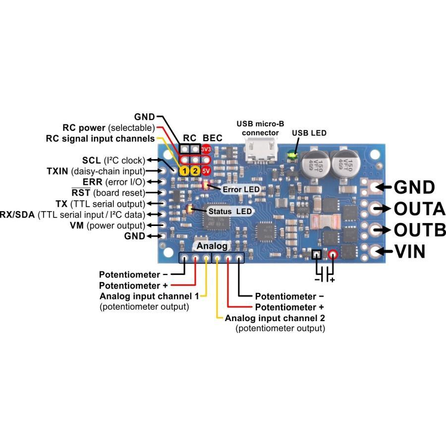 Pololu ハイパワーシンプルモータコントローラ G2 18v15 (実装済み)|suzakulab|05