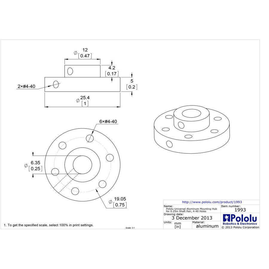 #4-40 holes 1993 2-pack Pololu Universal aluminum mounting hub for 1//4? Shaft