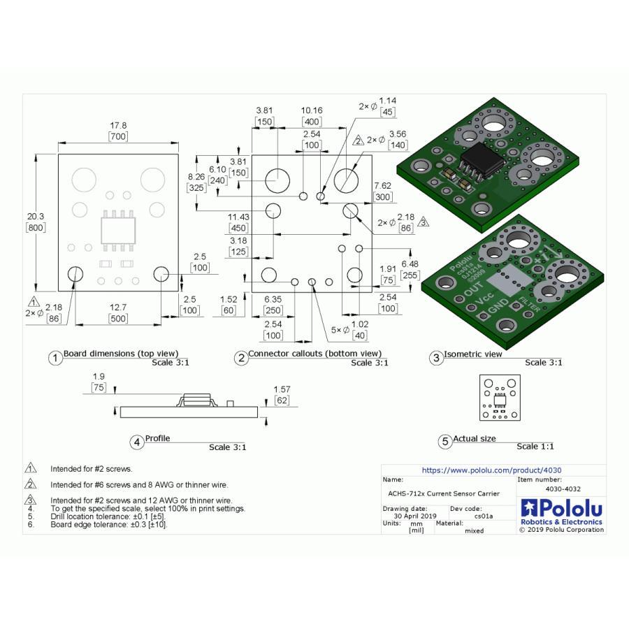 Pololu ACHS-7122電流センサ -20A〜+20A|suzakulab|09