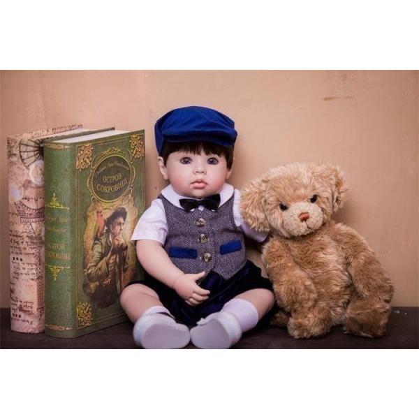 リボーンドール おしゃれな男の子 クマさん付き トドラードール トドラー人形 赤ちゃん人形 ベビー人形 ベビードール 綿&シリコン 50cm