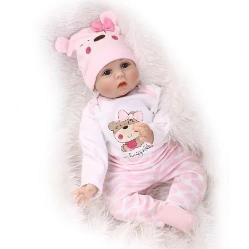 ◆新品未使用◆ぱっちりお目目♪ 約52cm シリコン 女の子 赤ちゃん人形 乳児 ドール お世話セット リボーンドール