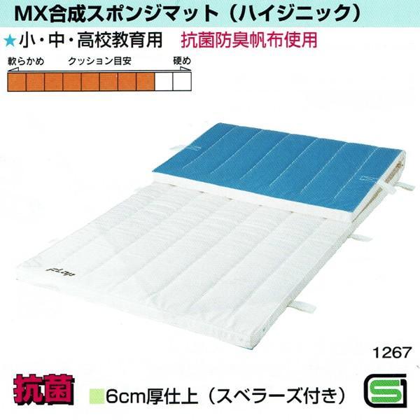 MX合成スポンジマット(ハイジニック) 6cm厚仕上げ 6号帆布 150×600サイズ スベラーズ付き