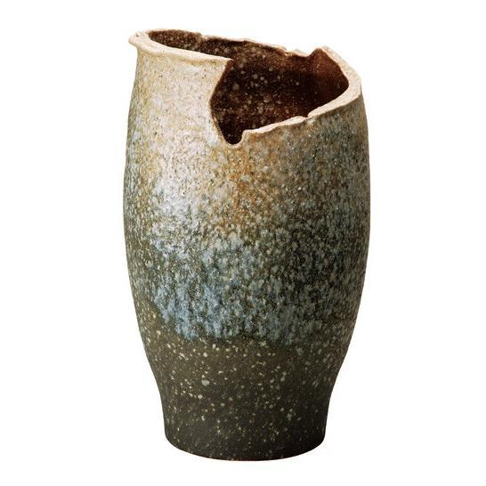 信楽焼陶器 信楽焼陶器 白窯変変形傘立て 49.0cm