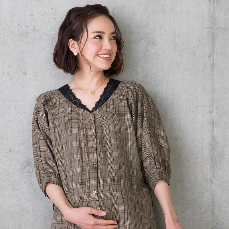 マタニティ 服 リブインナー  Vネック レース付き 竹繊維 授乳服 sweet-mommy 13