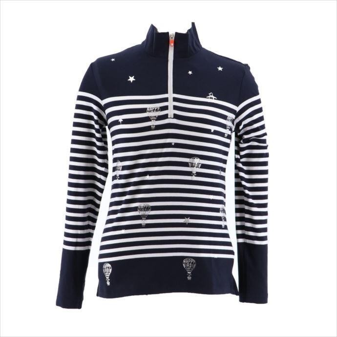 《送料無料》Munsingwear (マンシングウェア) レディス パネルボーダージップアップ長袖シャツ NVY MGWMJB02 1908 ゴルフ