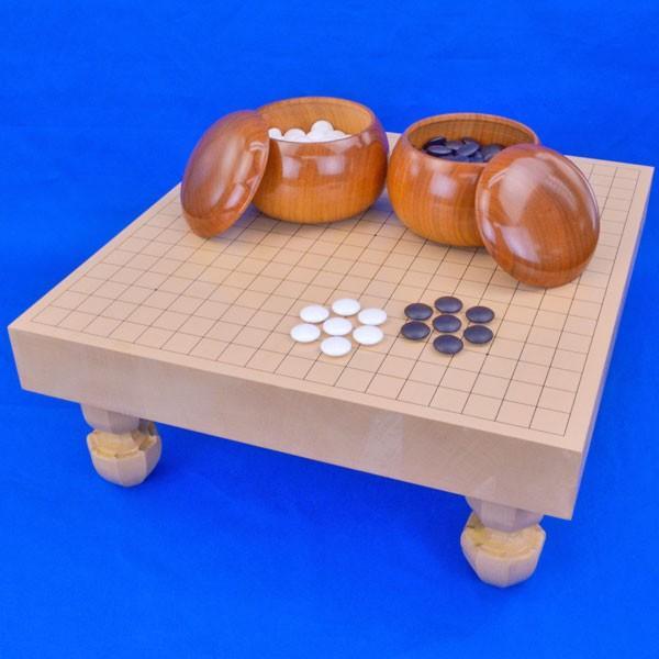 囲碁セット 新桂2寸ハギ足付碁盤セット(蛤碁石25号·桜碁笥大)