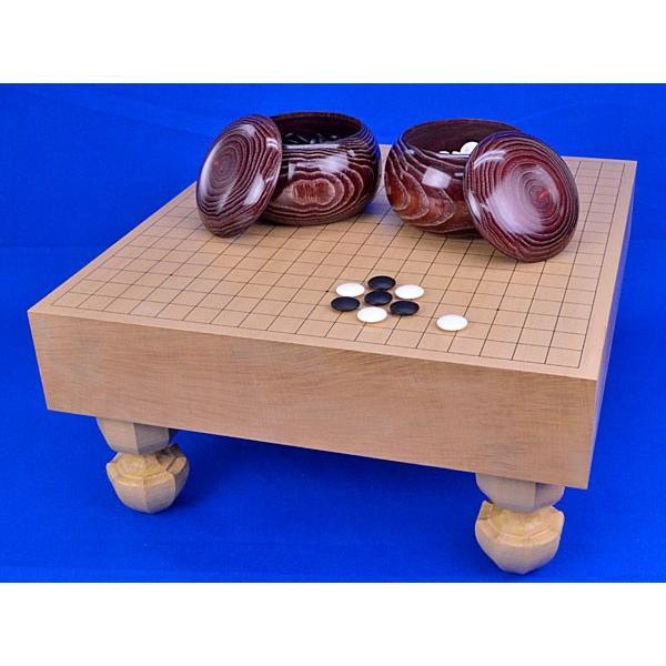 囲碁セット 新桂3寸足付碁盤セット(蛤碁石25号·栗碁笥大)