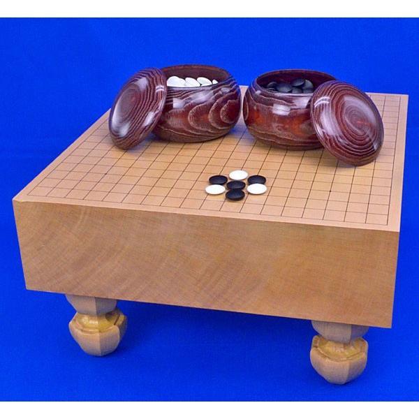囲碁セット 新桂4寸足付碁盤セット(ガラス碁石新生梅·木製碁笥栗大)