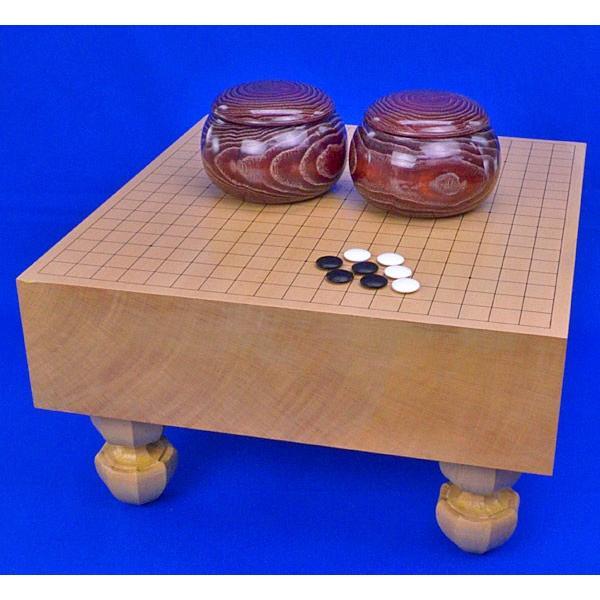 囲碁セット 新桂4寸足付碁盤セット(蛤碁石25号·木製碁笥栗大)