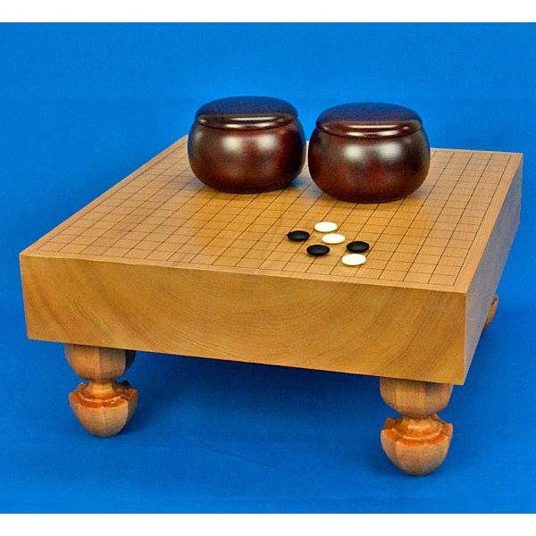 囲碁セット 本桂3寸足付碁盤セット(ガラス碁石新生梅·プラ銘木特大)