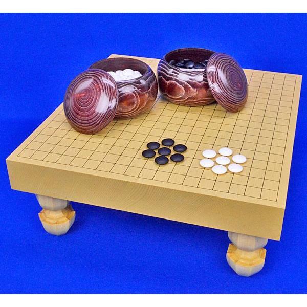 囲碁セット 新かや2寸一枚板足付碁盤セット(蛤碁石25号·栗碁笥)