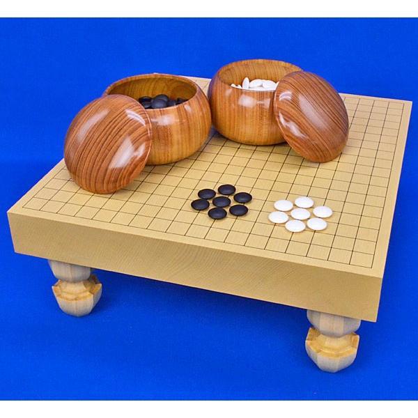 囲碁セット 新かや2寸一枚板足付碁盤セット(蛤碁石28号·欅碁笥)