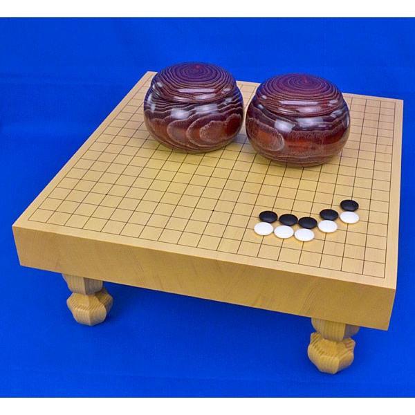 囲碁セット 新かや2寸ハギ足付碁盤セット(蛤碁石25号·栗碁笥)