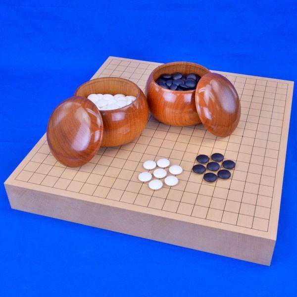 囲碁セット 新桂2寸ハギ卓上碁盤セット(蛤碁石28号·桜碁笥大)