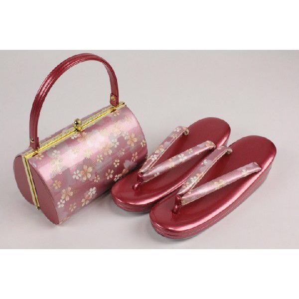 振袖から訪問着まで 桜柄 草履バッグセット 日本製 2L/3Lサイズ FS27(3−ピンク)