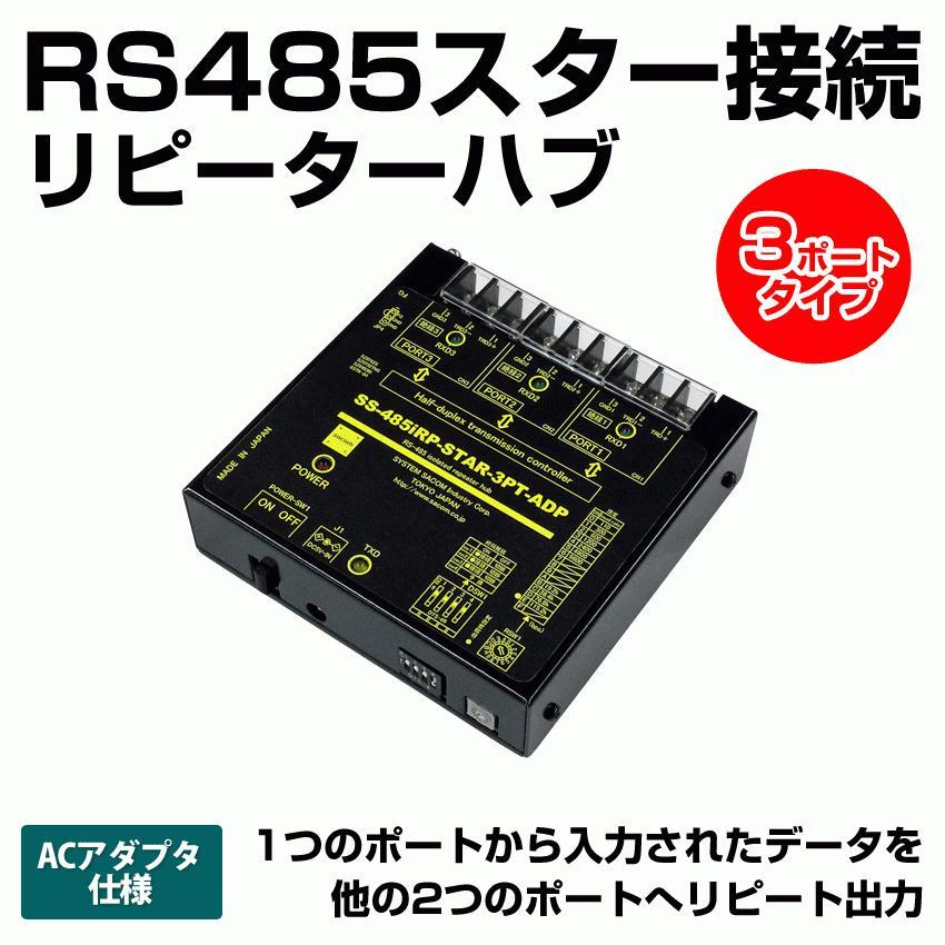 SS-485iRP-STAR-3PT-ADP RS485リピーターハブ【絶縁タイプ】(ACアダプタ仕様) RS485スター接続ハブ systemsacom