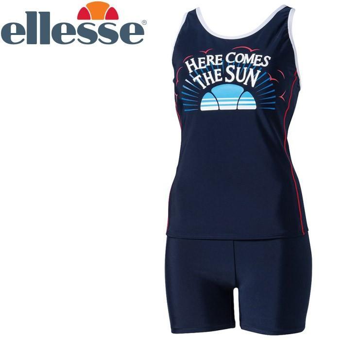 エレッセ 水泳 カムズサンウルトラストレッチセパレーツ フィットネス 水着 レディース ES58142-NB 返品不可