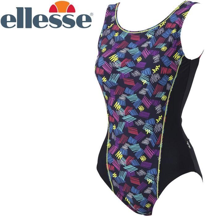 エレッセ 水泳 パラレログラムプリントワンピース フィットネス 水着 レディース ES38230-NB 返品不可