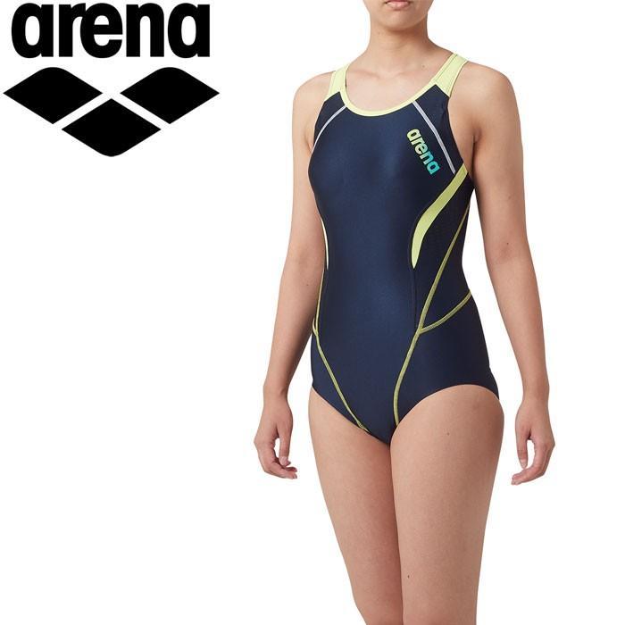 アリーナ 水泳 サークルバック ひっかけフィットパッド 着やストラップ 水着 レディース LAR-9201W-NVYL 返品不可