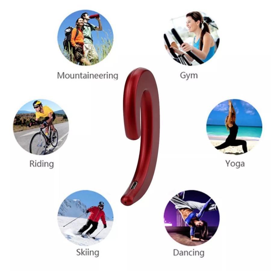 Bluetooth イヤホン ワイヤレスイヤホン  耳掛け型 骨伝導 スピーカー イヤフォン イヤホンマイク 片耳 USB 充電  高音質 超軽量 テレワーク t-a 09