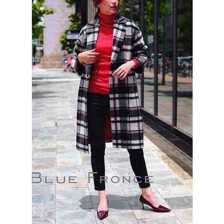 ローブ BLUE FONCE / チェック柄チェスターコート 【FAINL CLEARANCE 50%】|t-blueberry