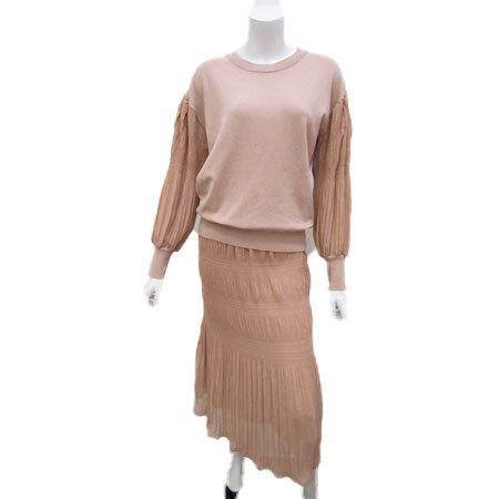 C'EST MOIJEU セモアージュ / ランダムプリーツ ニット使いスカート  t-blueberry 06