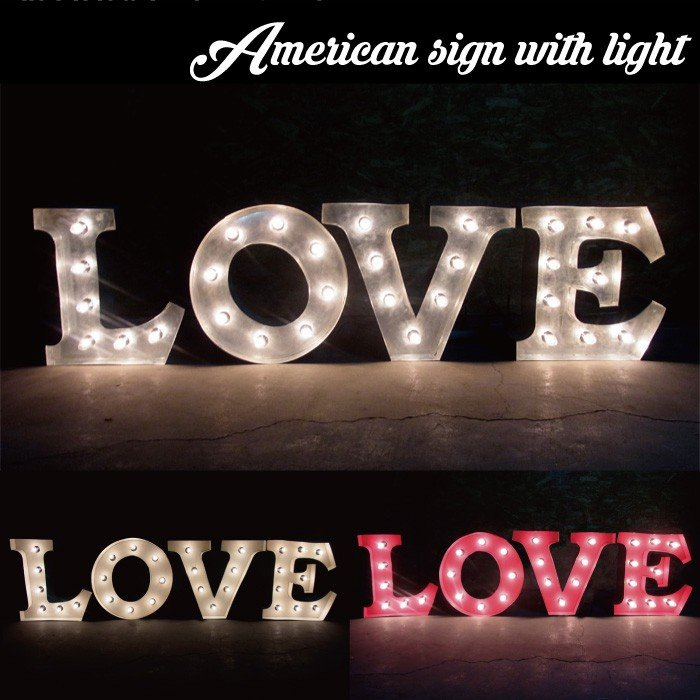 看板アメリカンサイン・ウィズライト (LOVE) ■ ラブ サインライト 店舗用 大型 インテリア ライト 照明 文字 電飾 壁掛け アメリカン雑貨 送料無料