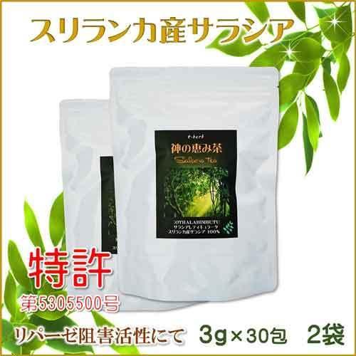 サラシア茶 スリランカ産 神の恵み茶 さわやか美味しいコタラヒムの葉 3g×30包 お得な2袋 サラシアレティキュラータ 血糖値 中性脂肪 便秘 腸活 免疫力 t-herb