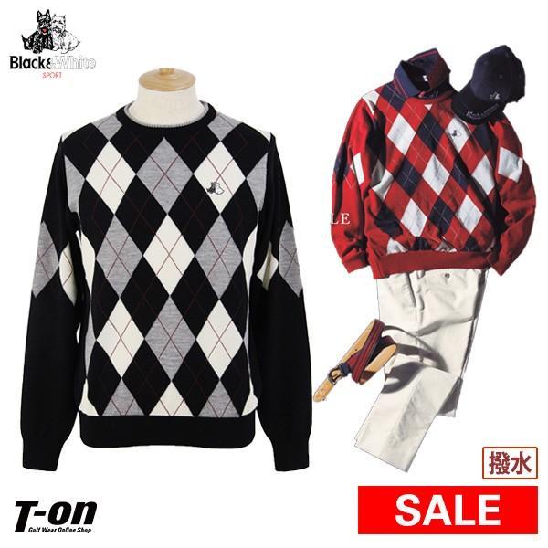 クルーネックセーター メンズ ブラック&ホワイト 黒&白い 2019 秋冬 新作 ゴルフウェア