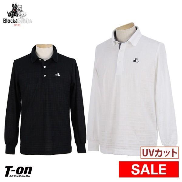 長袖ポロシャツ メンズ ブラック&ホワイト 黒&白い 2019 秋冬 新作 ゴルフウェア