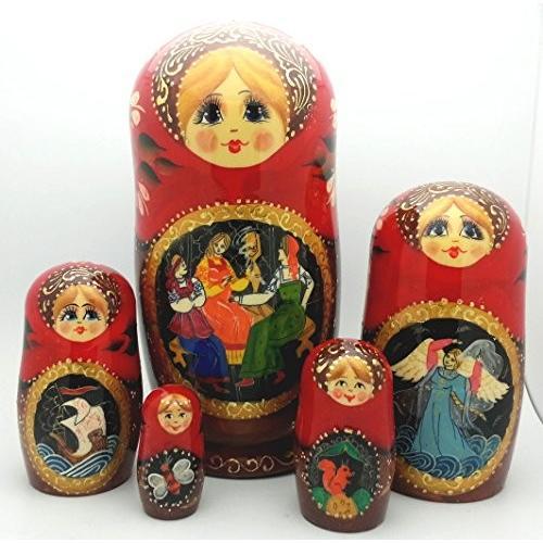 Tsar Saltan fairy テイル by Pushkin ロシアン Nesting ドール ハンド Carved ハンド ペ[海外取寄せ品]