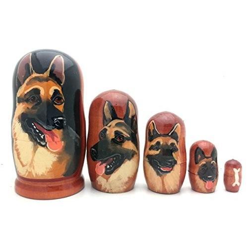 DOG German Shepherd nesting ドール ロシアン ハンド メイド 5 ピース matryoshka セット [海外取寄せ品]