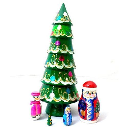 クリスマス トゥリー サンタ スノーマン ロシアン Nesting ドール ハンド ペイント 5 ピース セット[海外取寄せ品]