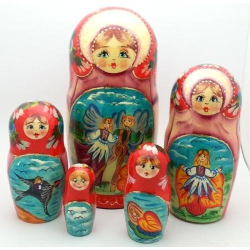 Thumbelina fairy テイル ロシアン ハンド Carved ハンド ペイント Nesting 5 ピース ドール セッ[海外取寄せ品]