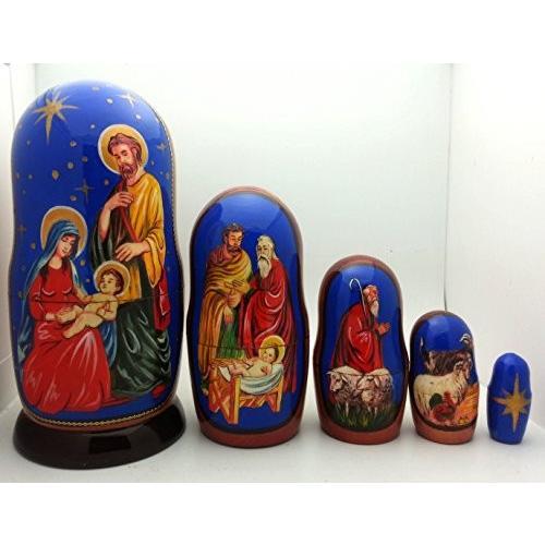 Nativity Nesting ドール ハンド メイド in ロシア 5 ピース 4