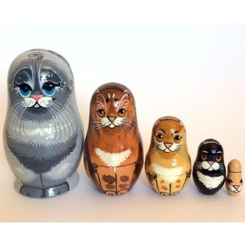 グレー Cat nesting ドール ロシアン ハンド Carved ハンド ペイント 5 ピース matryoshka セット[海外取寄せ品]