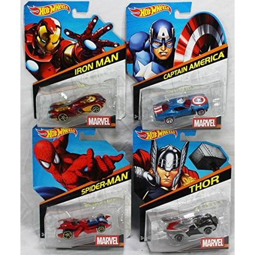 バンドル of 4 ホット Wheels マーベル Cars: トール Thor, スパイダーマン Spider-Man, キャプテ[海外取寄せ品]