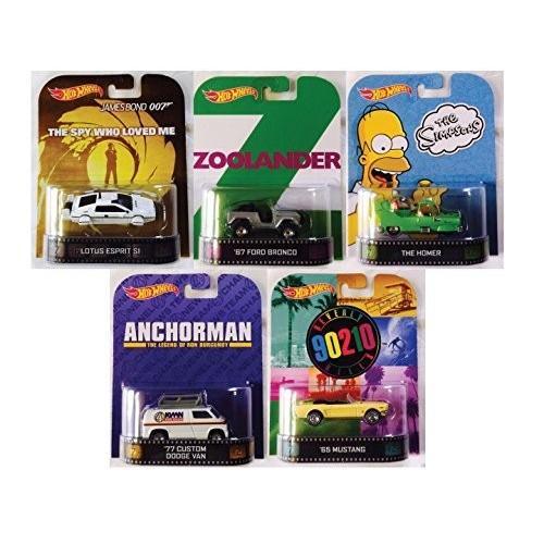ホット Wheels レトロ Series セット of 5: Zoolander, Anchorman, Simpsons, 90[海外取寄せ品]
