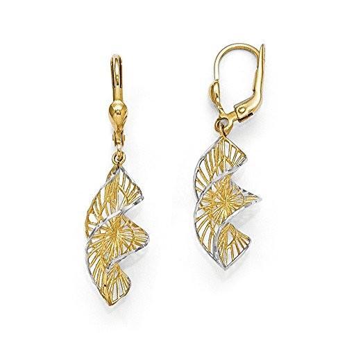 【メール便送料無料対応可】 Two トーン スパイラル Dangle Dangle Earrings Earrings in 14K イエロー ゴールド ホワイト & ホワイト ロジウム(海外取寄せ品), 夢の甘熟みかんTatchタッチ:4a865919 --- airmodconsu.dominiotemporario.com