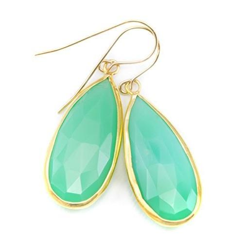 セットアップ 14k ゴールド Filled ラージ Chrysoprase セット Earrings グリーン ファセット ベゼル セット ゴールド ラージ ロング Te(海外取寄せ品), ハイヒール専門店 BEMILANO:b9597efc --- levelprosales.com