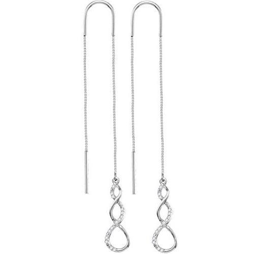 『3年保証』 10kt ホワイト ホワイト ゴールド ツイスト レディース Earrings ラウンド ダイヤモンド ツイスト Dangle Threader Earrings 1/1(海外取寄せ品), おくすり奉行28:a59439e4 --- airmodconsu.dominiotemporario.com