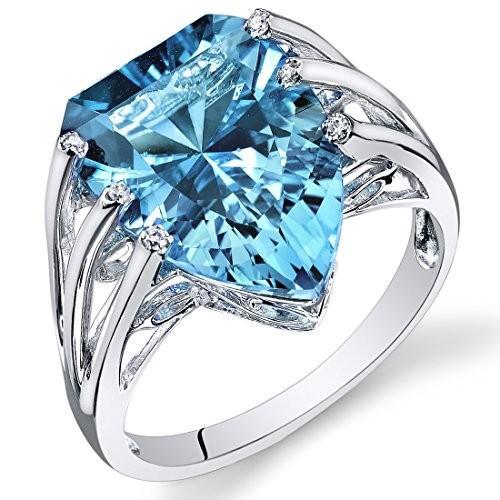 柔らかな質感の Peora 14K ホワイト マーキス ゴールド ハーフ リング マーキス スイス ブルー Topaz ブルー ダイヤモンド リング (8.03 cttw)(海外取寄せ品), アイシン:fb51a9a0 --- sonpurmela.online