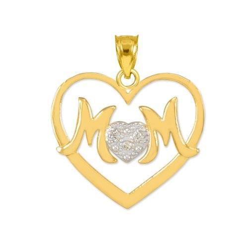 公式の  14k イエロー ラブ イエロー ゴールド ダイヤモンド Mom マザー ラブ チャーム オープンハート Mom ペンダント(海外取寄せ品), 【安心発送】:ba2a2fef --- levelprosales.com