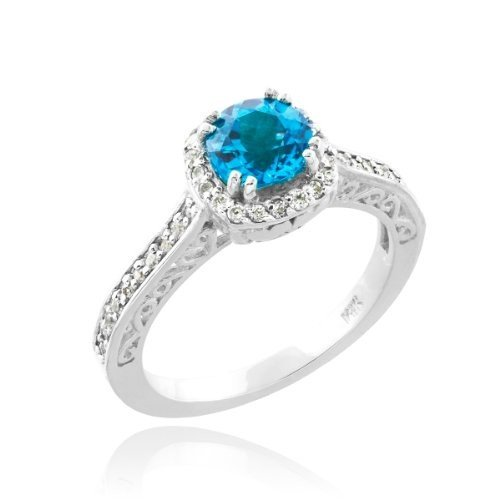 国産品 14k ホワイト ゴールド Aquamarine ゴールド ダイヤモンド Halo March Birthstone March バンド Aquamarine Engageme(海外取寄せ品), GUARD:3bc34a1a --- airmodconsu.dominiotemporario.com