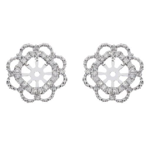 大人気の 14K ホワイト ホワイト フラワー ゴールド 14K ダイヤモンド フラワー Earring ジャケット(海外取寄せ品), もったいない本舗:1a89abc8 --- airmodconsu.dominiotemporario.com
