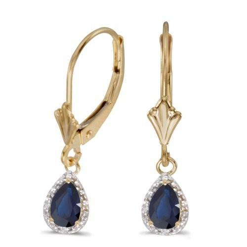 『4年保証』 14k イエロー ゴールド ダイヤモンド Pear サファイア And ダイヤモンド And Leverback Leverback Earrings(海外取寄せ品), カノープスルーム:7128cefd --- airmodconsu.dominiotemporario.com
